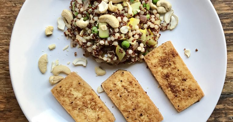 Fried tofu with mixed Grains