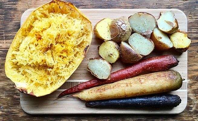 Spaghetti Squash with Potatoes & Carrots