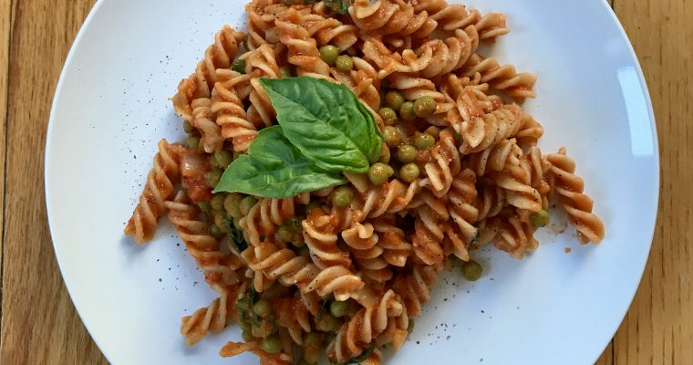 Fusilli with Hummus Marinara Sauce