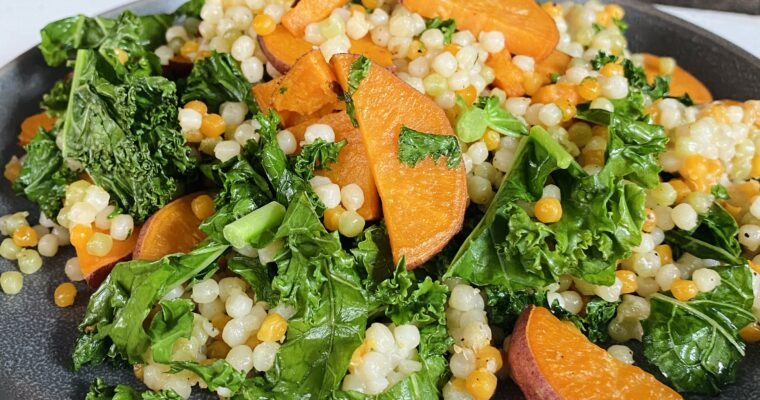 Sweet Potato Pearl Couscous Skillet with Kale